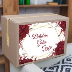 Kırmızı Çiçekli 01 Çeyiz Etiketi