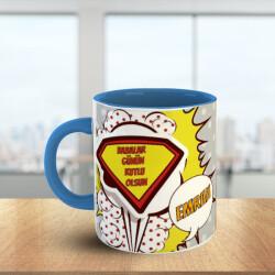 Süper Baba Tasarımlı - Mavi Kupa