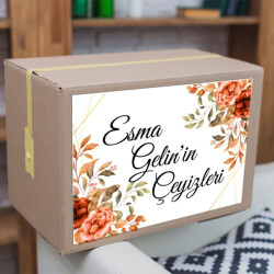 Turuncu Çiçekli Çeyiz Etiketi