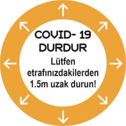 Yuvarlak Yön Göstergeli Sosyal Mesafe Sticker
