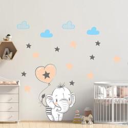 Balonlu Fil ve Yıldızlar Duvar Sticker