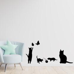 Oyun Oynayan Kediler Dekoratif Duvar Sticker