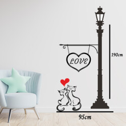 Sokak Lambası ve Kediler Duvar Sticker