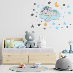 Uyuyan Ayı ve Yıldızlar Duvar Sticker