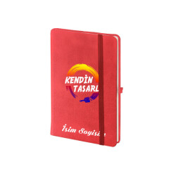 Kişiye Özel Kırmızı Not Defteri Çizgili 9x14cm