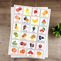 Renkli Meyveler Eğitici Sticker
