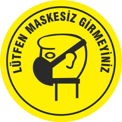 Maskesiz Girmeyiniz Sosyal Mesafe Sticker