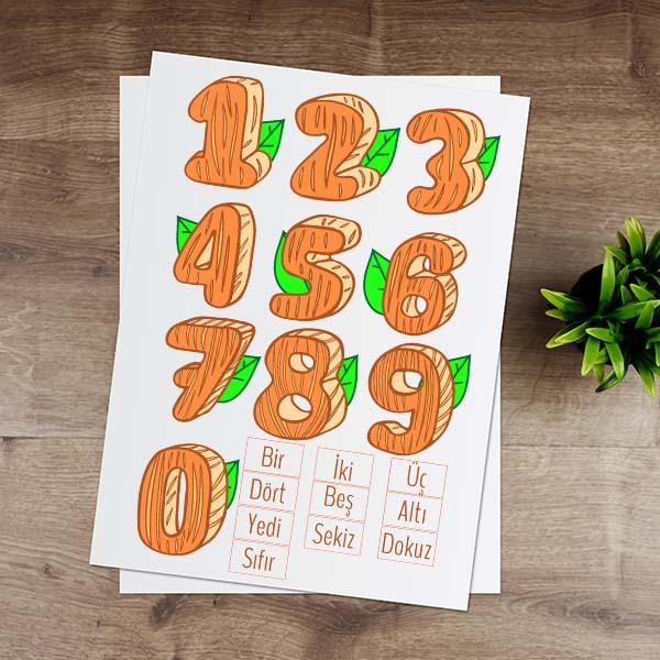 Turuncu Rakamlar Eğitici Sticker