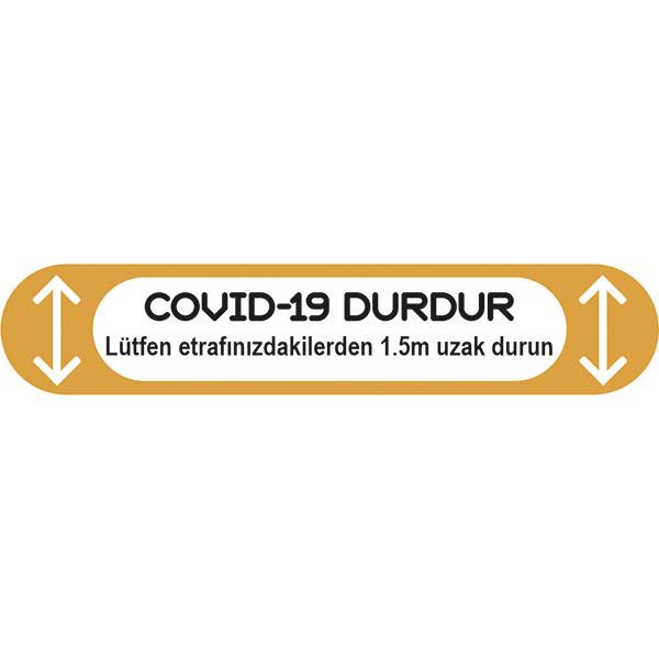 Sarı Durdur Dikdörtgen Sosyal Mesafe Sticker