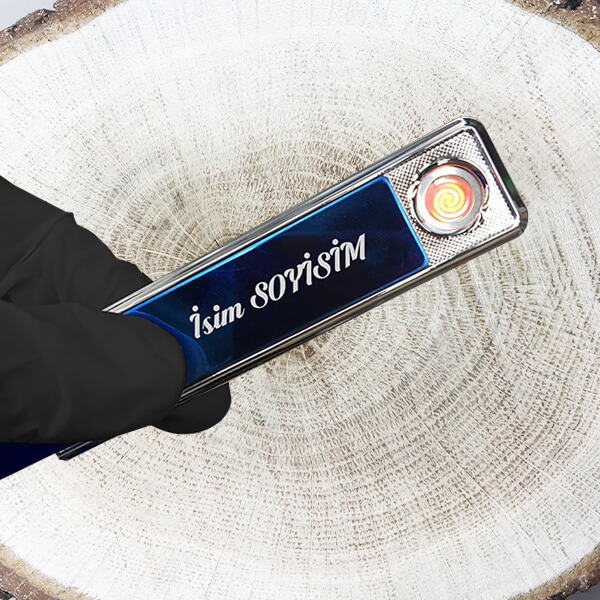 Kişiye Özel Şarjlı Alevsiz Gümüş Çakmak