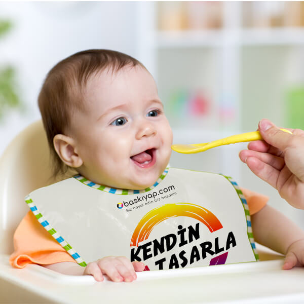 Kişiye Özel Bebek Mama Önlüğü (Erkek)