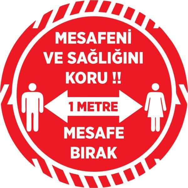 Yuvarlak kırmızı sosyal mesafe sticker